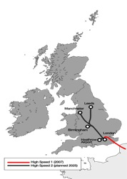 Indicitive map of HS2 route