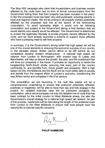 Philip Hammond's letter to MP's about Stop HS2, p2