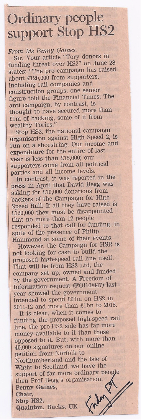 Stop HS2's letter in FT on 1st July