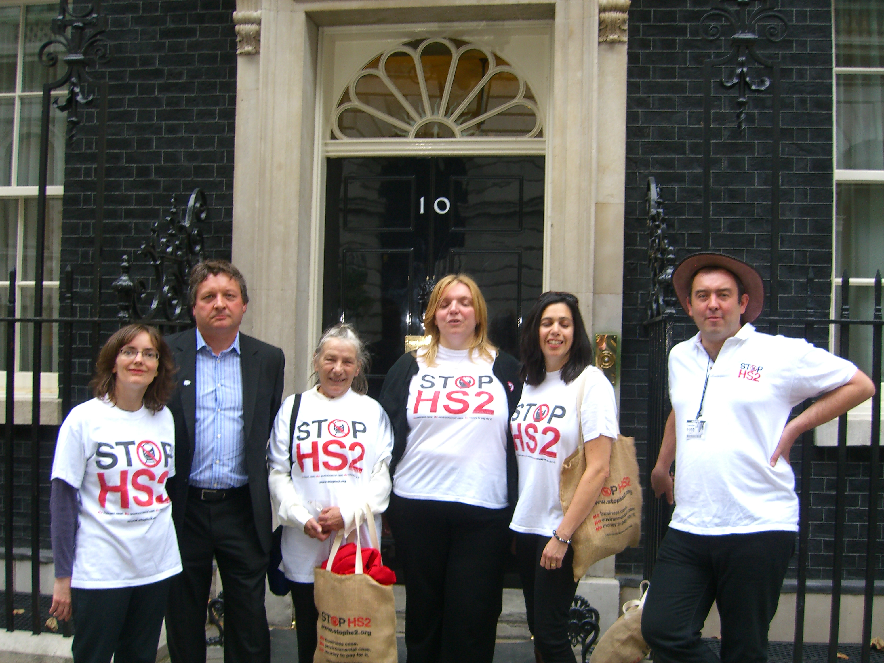 Stop Hs2 campaigners outside 10 Downing Street