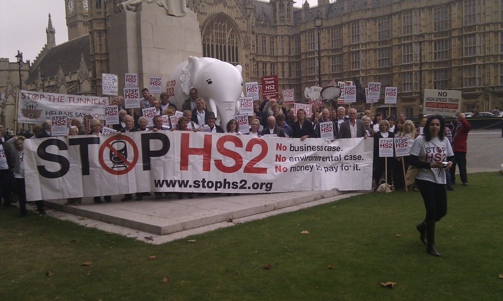 Stop HS2 Campaigners outside Parliament before the HS2 Debate