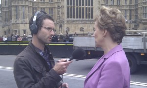 Andrea Leadsom MP being interviewed before the HS2 Debate