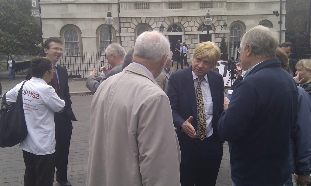 Conservative Whips Jeremy Wright MP & Michael Fabricant MP talk to Stop HS2 campaigners prior to the debate