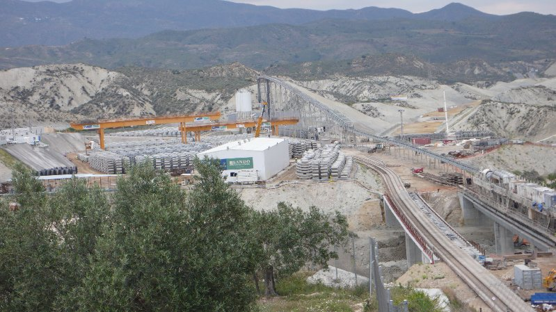 A tunnel would mean moving a construction compound like this one seen in Spain into the Area of Outstanding Natural Beauty