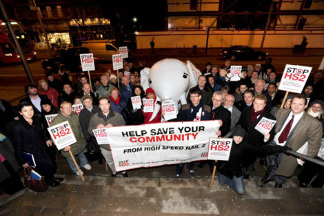 Stop HS2 campaigners picket a meeting of Ealing Council
