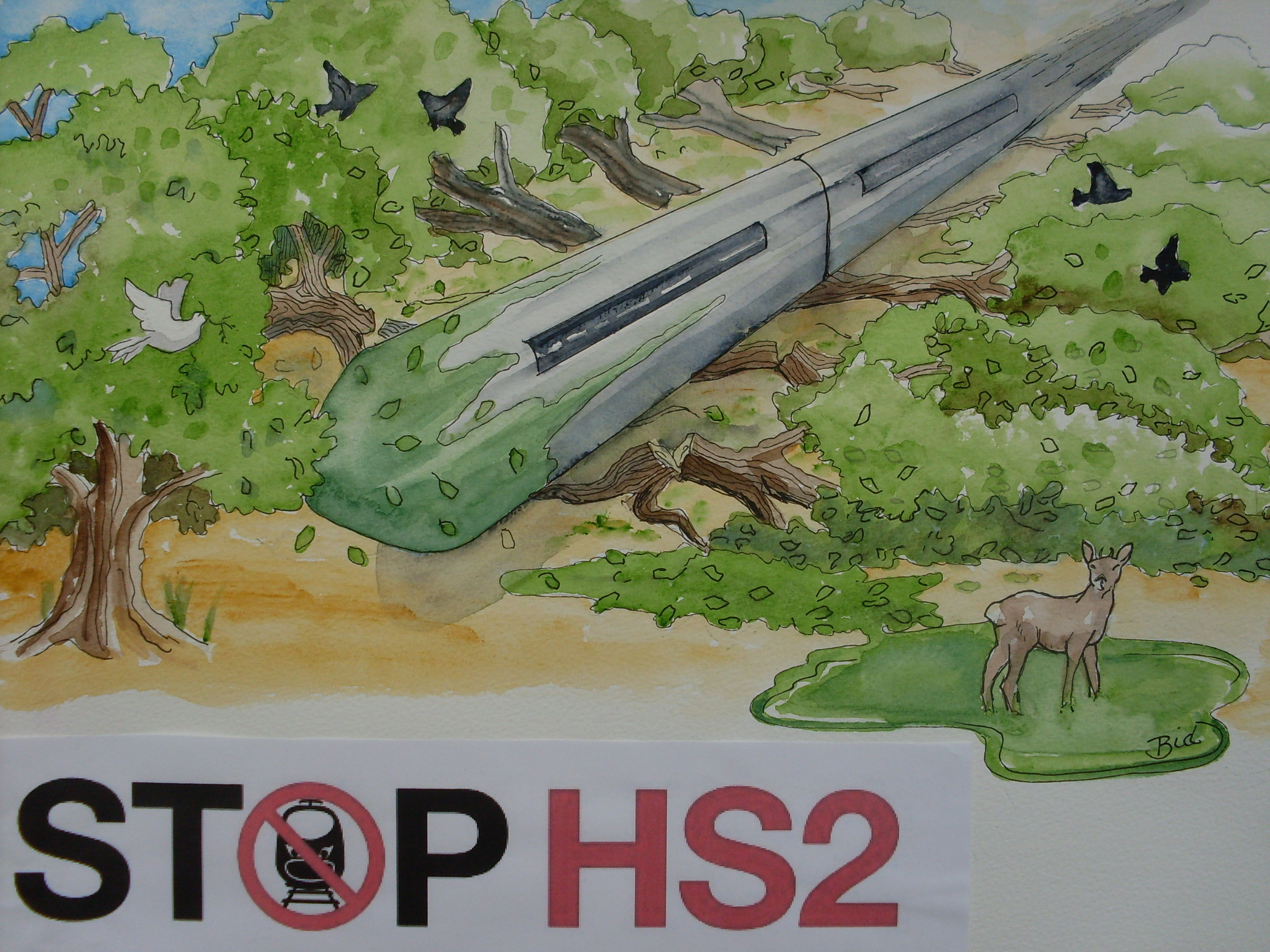 Artists impression of how HS2 trains could be used to move trees.