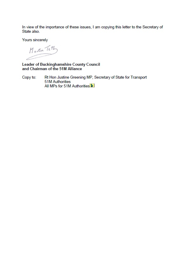 Business Letter Update 51M letter asking HS2 about updating the business case