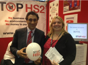 Onkar Sahota and Keri Brennan on the Stop HS2 stand at Labour Conference