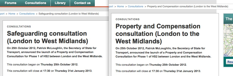 "From the ""Safeguarding consultation"" and ""Property and compensation"" webpages on the Dft website"