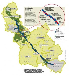 Map showing the natural impacts on just Stage 1 of HS2