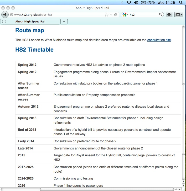 HS2 timetable on the HS2 Ltd website - out of date