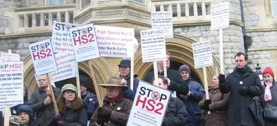 StopHS2 banners at Ealing Town Hall