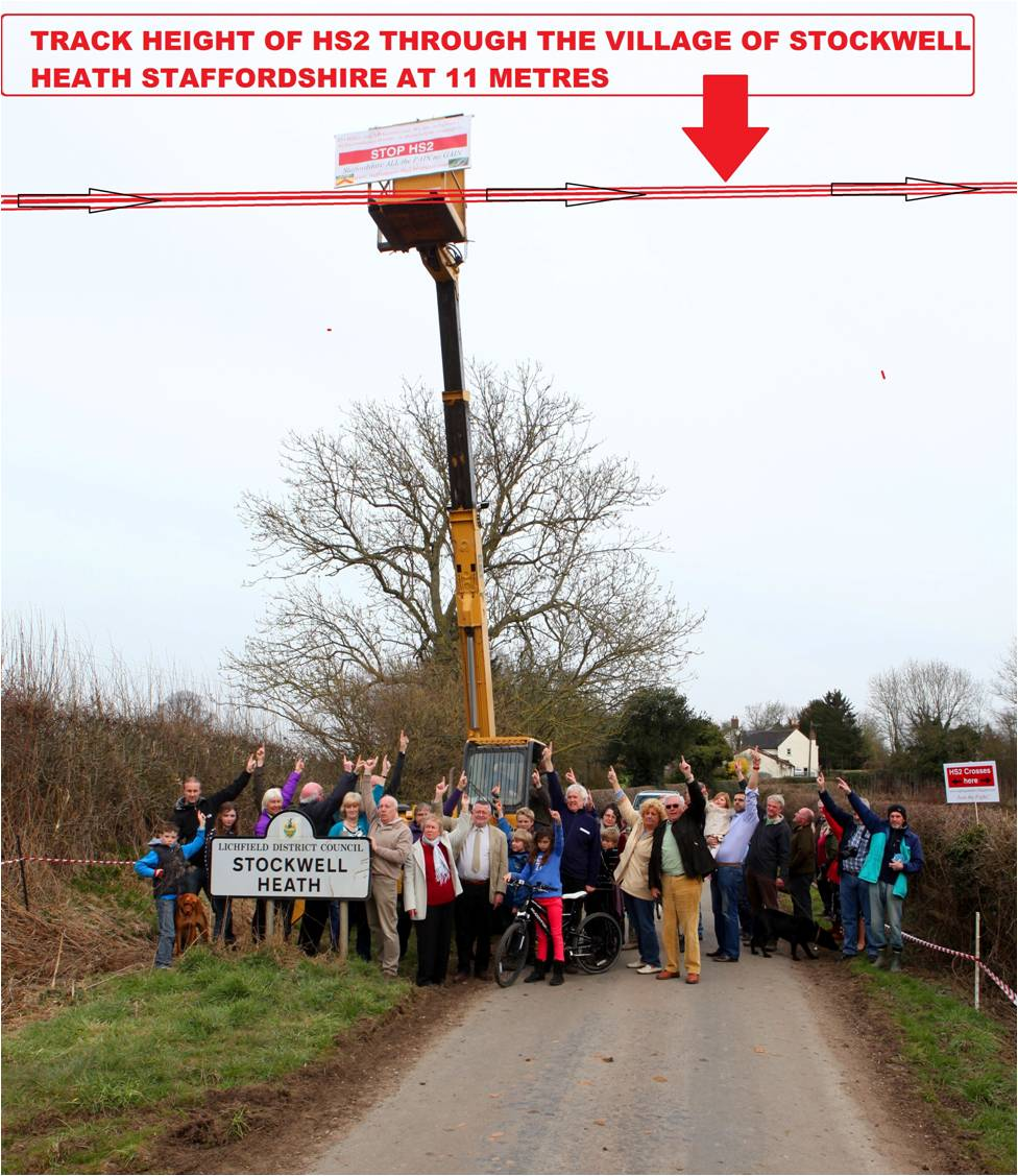 At 11m above current ground level, the locals are using a crane to demonstrate height of HS2 tracks