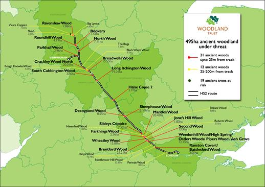 Map showing 52 ancient woods at risk from HS2 Phase 1