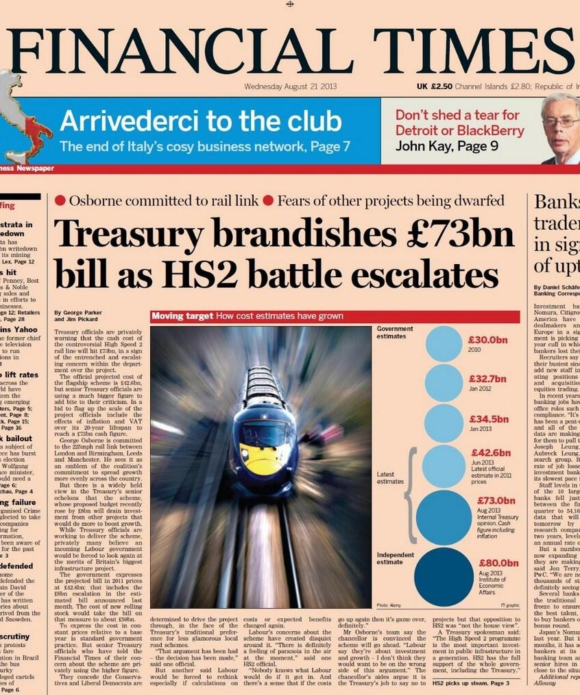 FT Front Page, 21st August 2013
