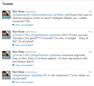 Tweets from the new HS2 Ltd lead spokesman