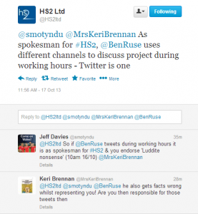 HS2 Ltd confirm Ruse tweets on company time
