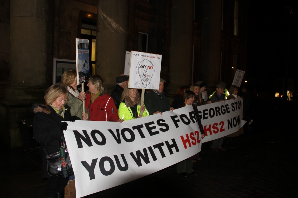"Protesters outside Macclesfield Town hall - ""no votes for you with HS2"""