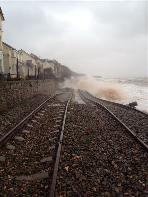 Submerged tracks at Dawlish