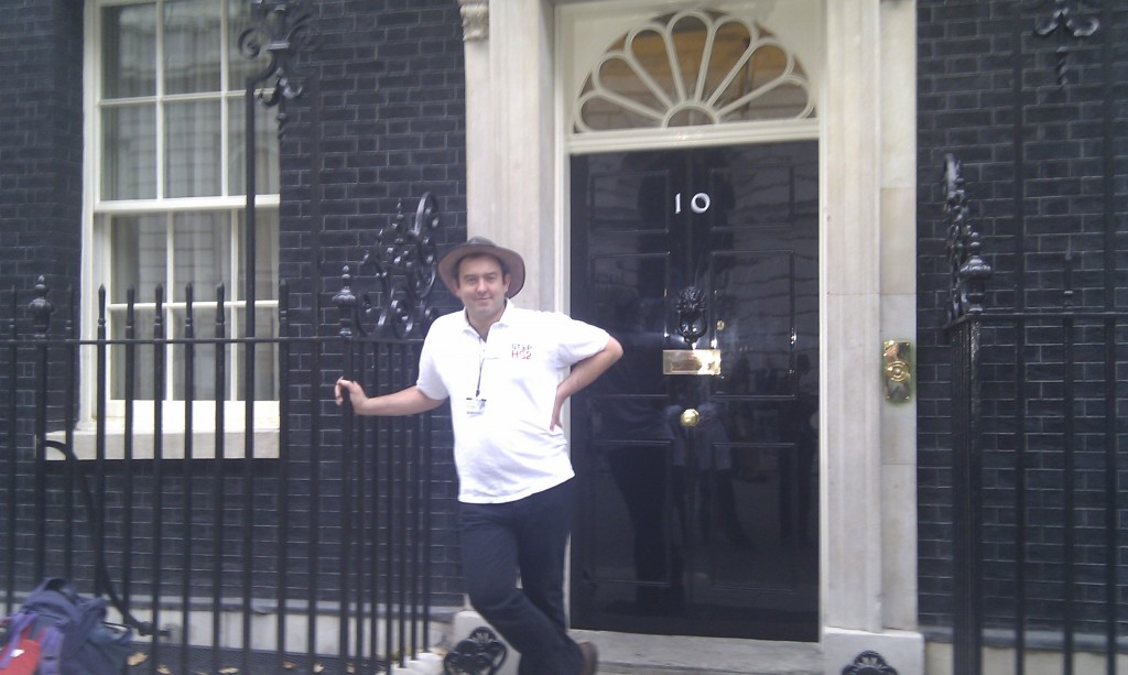 Joe Rukin handing in a 108,00 signature petition to Downing Street in 2011.