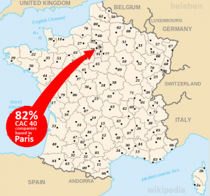 Location of CAC40 HQs in France - What David Higgins claims is 'decentralisation'. Image via Beleben