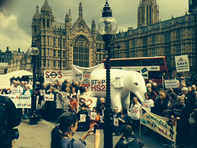 Stop HS2 Campaigners outside Parliament on 28th April 2014