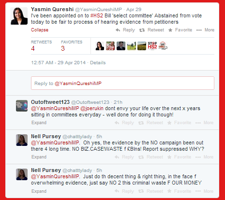 Yasmin Qureshi tweets about not voting on HS2