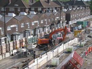 Houses by Crossrail Construction site