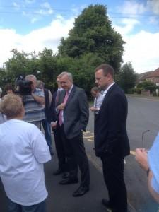 Robert Syms and local MP Dan Byles talk to Water Orton resident Lynda Davies
