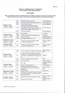 Petition Hearing Dates, 1st - 11th Sept 2014