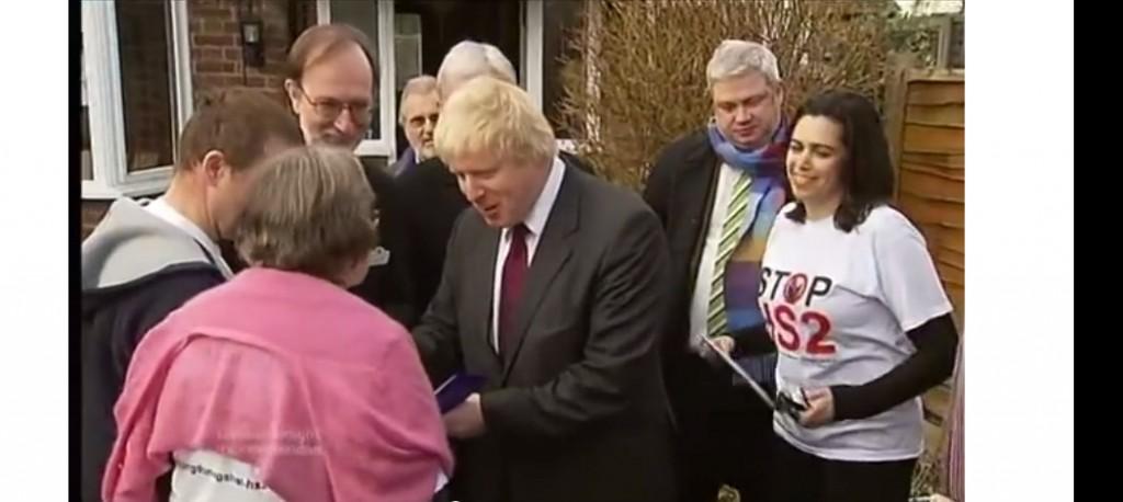 Boris signing Stop HS2 items in Ruislip