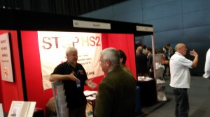 Questions being asked, answers being given at the Stop HS2 stall.