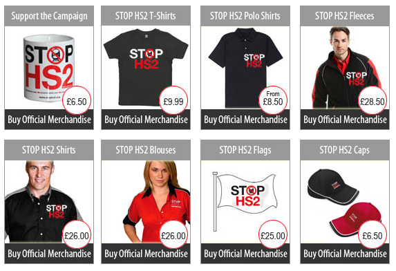 Some of the official merchadise available at the Stop HS2 Shop