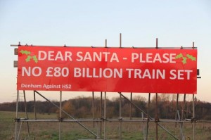 Sign: Dear Santa, please no £80 bn train set