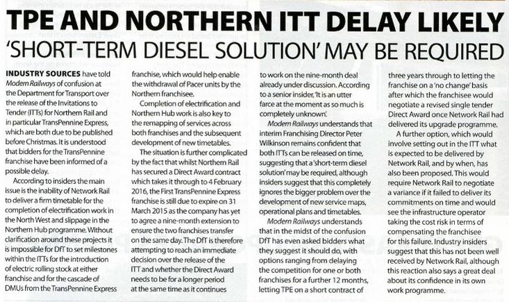Modern Railways Article, December 2014