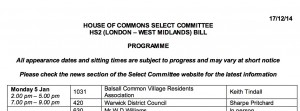 HS2 Committee programme: January 2015 sittings