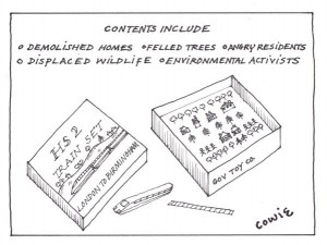 HS2 boxed toy train set, includes demolished homes, felled trees, angry websites, displaced wildlife, environmental activists