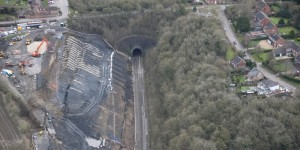 View of the Harbury Landslide which blocked the Chilterns Railway route between Leamington Spa and Banbury