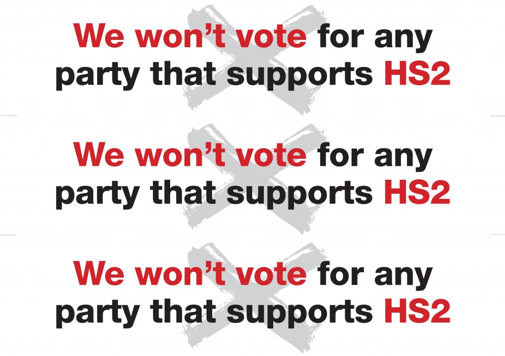 Stop HS2 pre-election window stickers