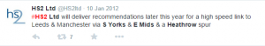 A tweet from HS2 Ltd three years ago, promising plans for the HS2 Heathrow Spur.