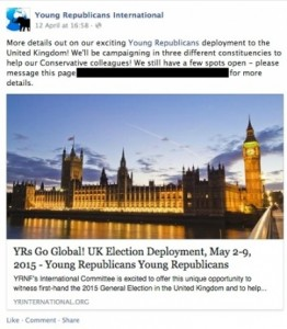 Screenshot from the YRI Facebook page, promoting their trip to London, Windsor and, err, Aylesbury.