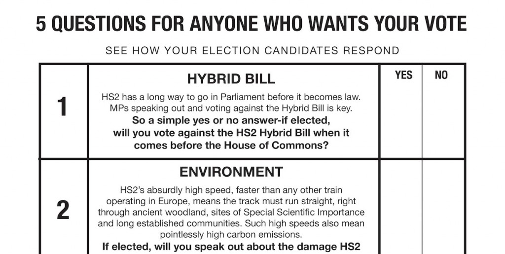 From HS2AA mailing list: 5 questions to anyone who wants your vote: on the hybrid bill, the environment, compensation, priorities, and cuts to existing rail services