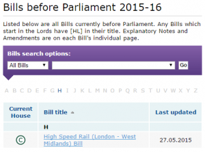 As things stand after the Queens Speech, there is only one Bill before Parliament.