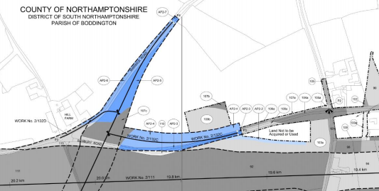 Taking the land marked in blue won't affect any landowners, according to HS2 Ltd