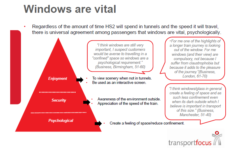 The focus group came up with the concept that windows on trains are vital. No really, how much did HS2 Ltd pay for this crap?