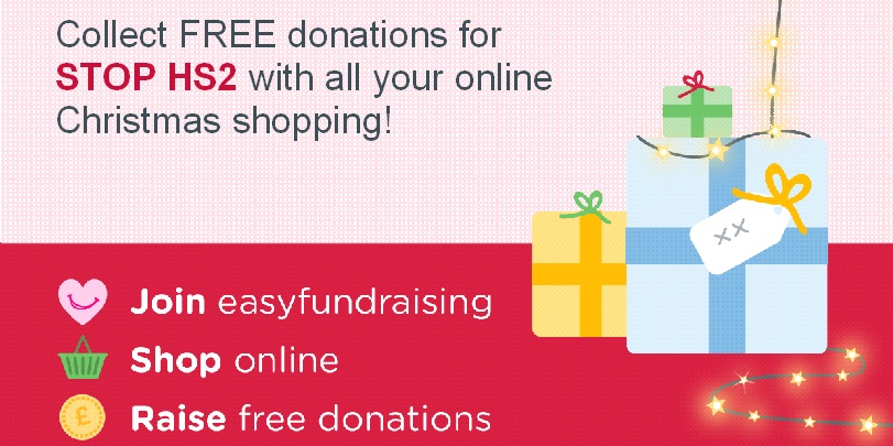 Help Stop HS2 while you shop - easyfundraising screen header