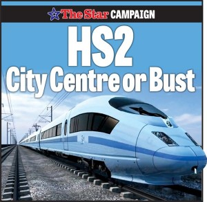 Sheffield Star HS2 City Centre or Bust logo