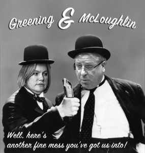 Laurel and Hardy visual of McLoughlin and Justine Greening, holding HS2 train with 'another fine mess' caption