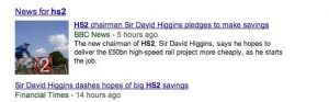 On the day he was appointed, Higgins said both that he would cut costs of HS2, and that he wouldn't.