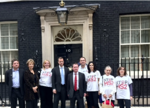 Andrea Leadsom with other MPs and Stop HS2 campaigners, handing in a petition to Downing St